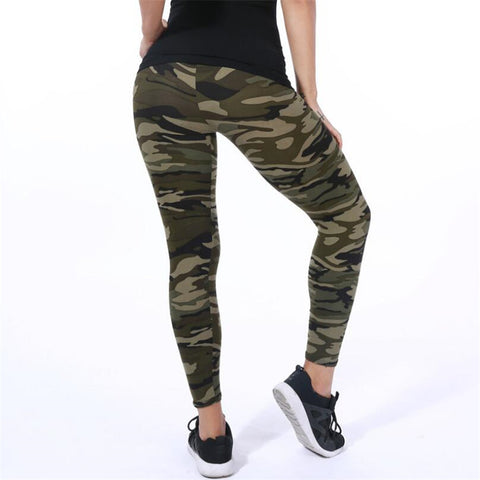 Military Green Elastic Camouflage Leggings