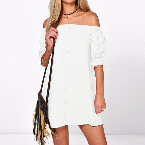Casual Boat Neck Dress