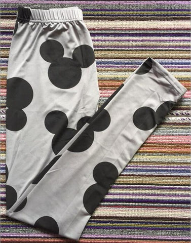 Gray Mouse Elastic Leggings