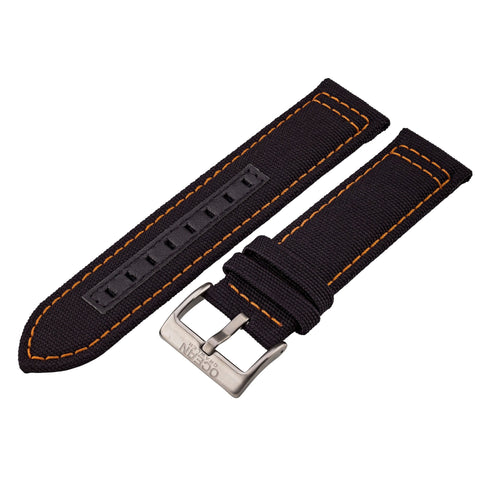 Black Canvas and Orange Stitching Strap - 22mm - Ocean Crawler Watch Co.
