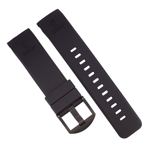 Black Fitted Rubber Strap for Core Diver - DLC Buckle - 22mm - Ocean Crawler Watch Co.