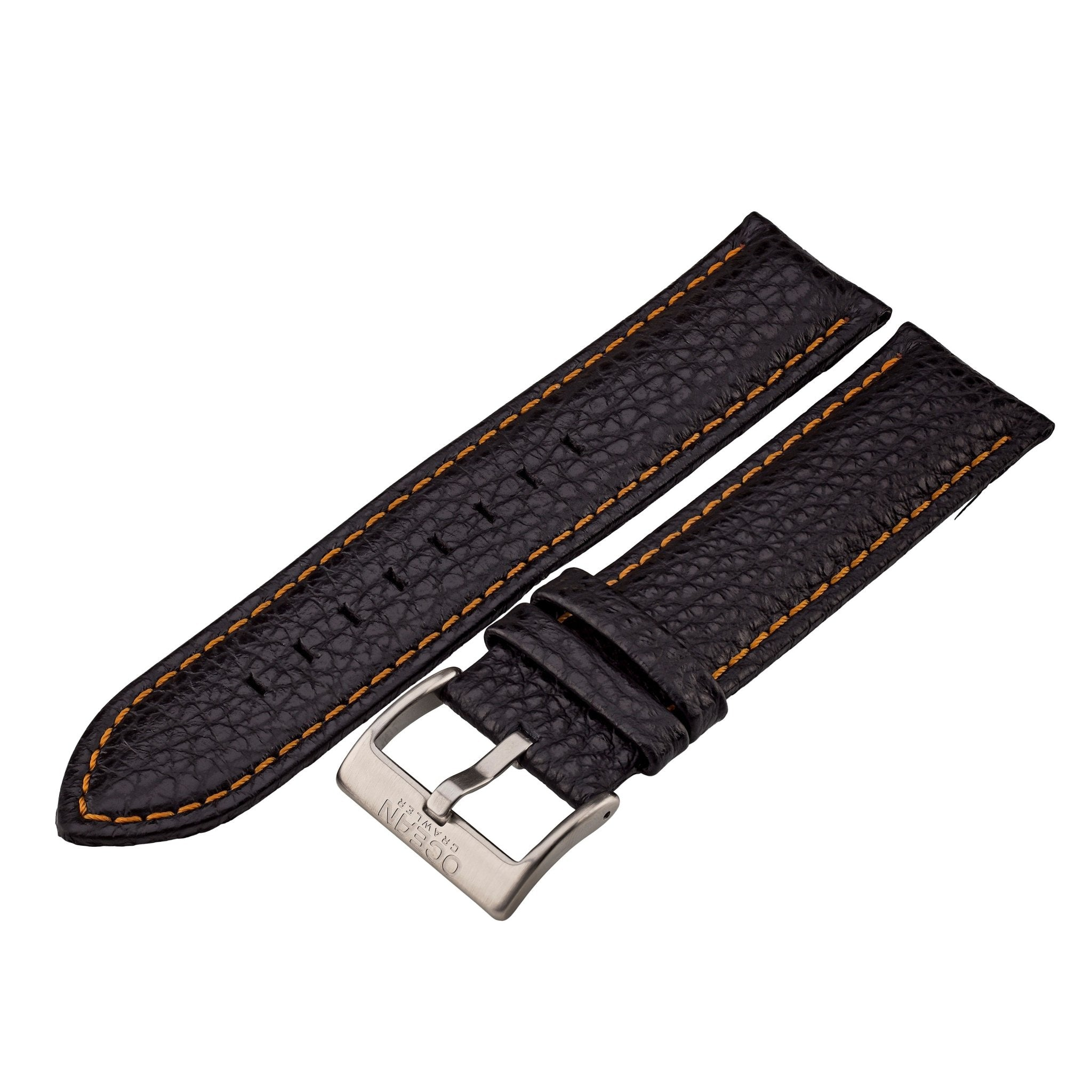 Black Leather And Orange Stitching Strap - 22mm - Ocean Crawler Watch Co.