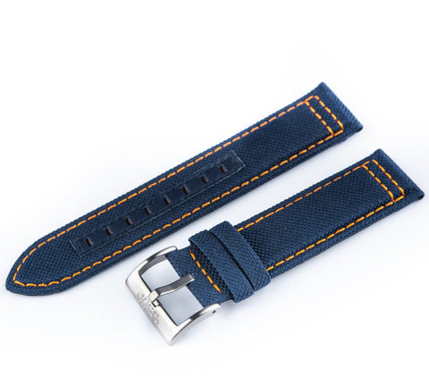 Blue Canvas Strap with Orange Stitching - SS Buckle - Ocean Crawler Watch Co.