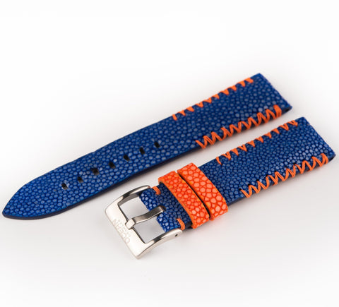 Blue Stingray Leather Strap - 22mm - Ocean Crawler Watch Co.