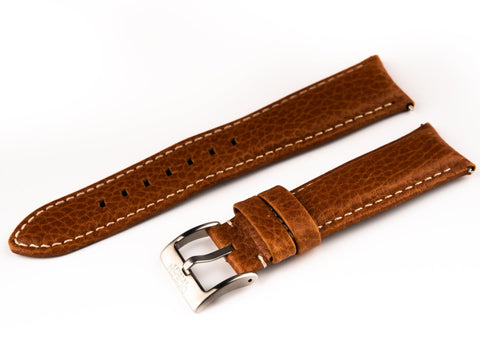Brown Leather Band With Signed Stainless Steel Buckle - 22mm - For Curved Lugs - Ocean Crawler Watch Co.