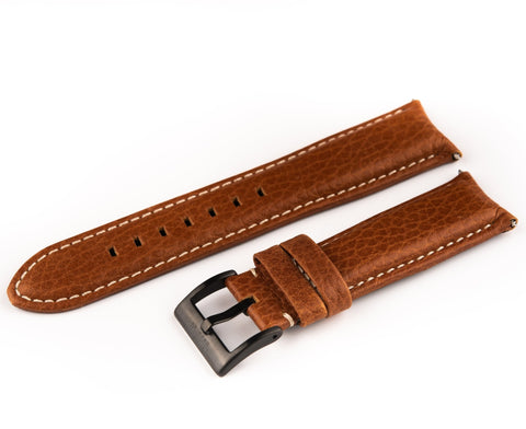 Dark Brown Leather Band With Signed Black PVD Stainless Steel Buckle - 22mm - For Curved Lugs - Ocean Crawler Watch Co.