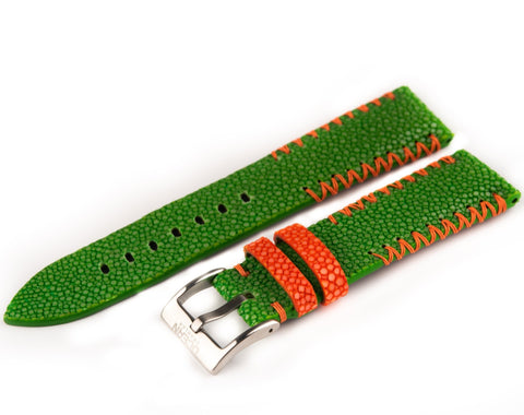 Green Stingray Leather Strap - 22mm - Ocean Crawler Watch Co.