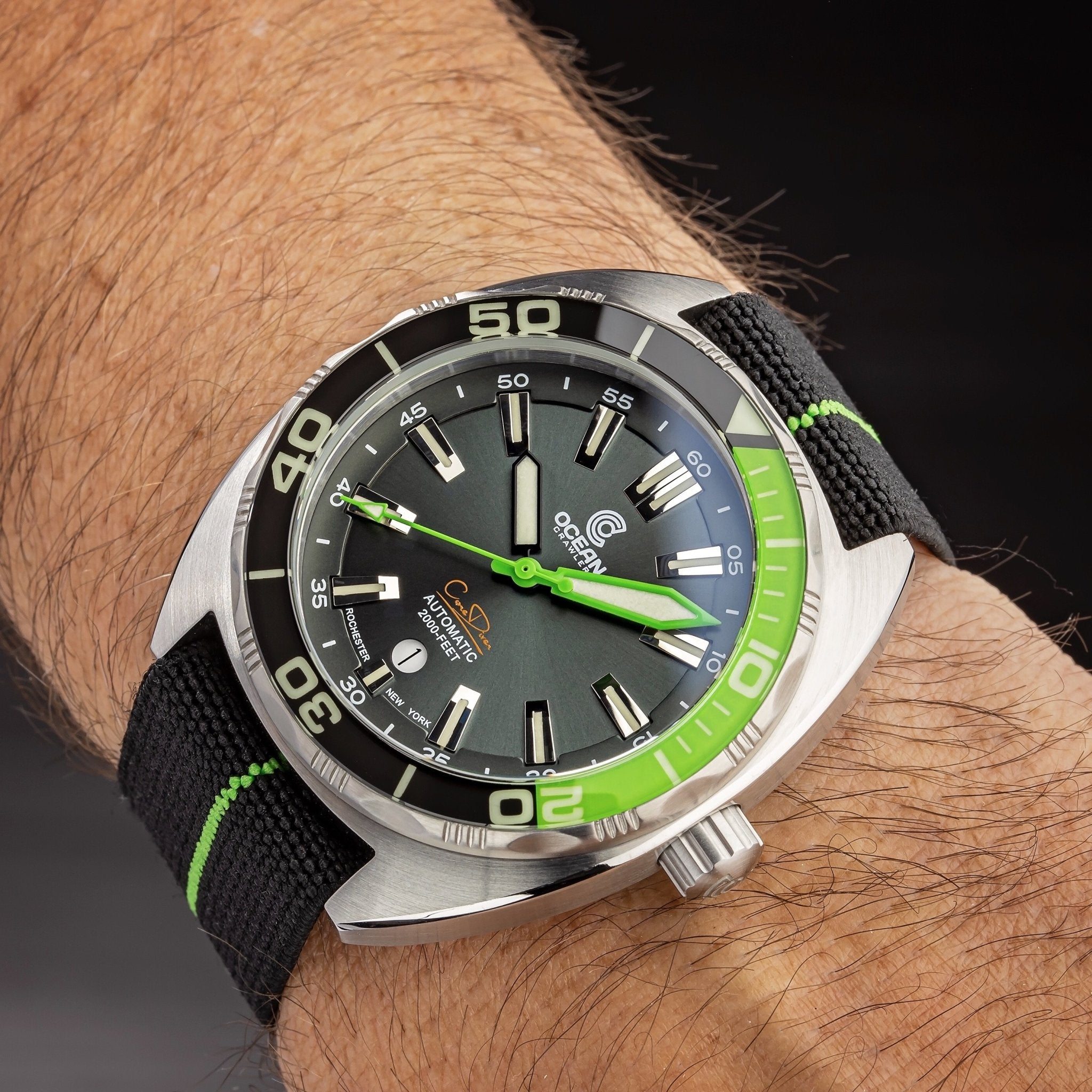 Lime Green/Black NATO Strap - Ocean Crawler Watch Co.