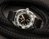 Ocean Crawler Black Leather Strap - Orange Stitching - 22mm - Ocean Crawler Watch Co.