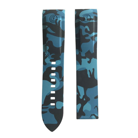 Ocean Crawler Blue Camouflage Camo Rubber Band For Champion Diver Watch Limited Edition - Ocean Crawler Watch Co.
