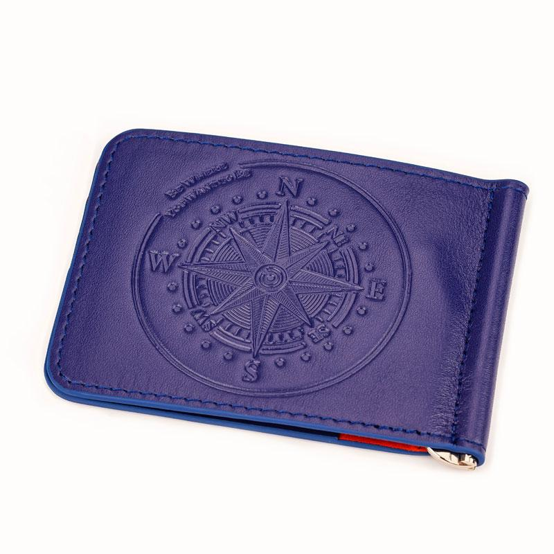 Ocean Crawler Blue Leather Slim Wallet and Money Clip - Ocean Crawler Watch Co.