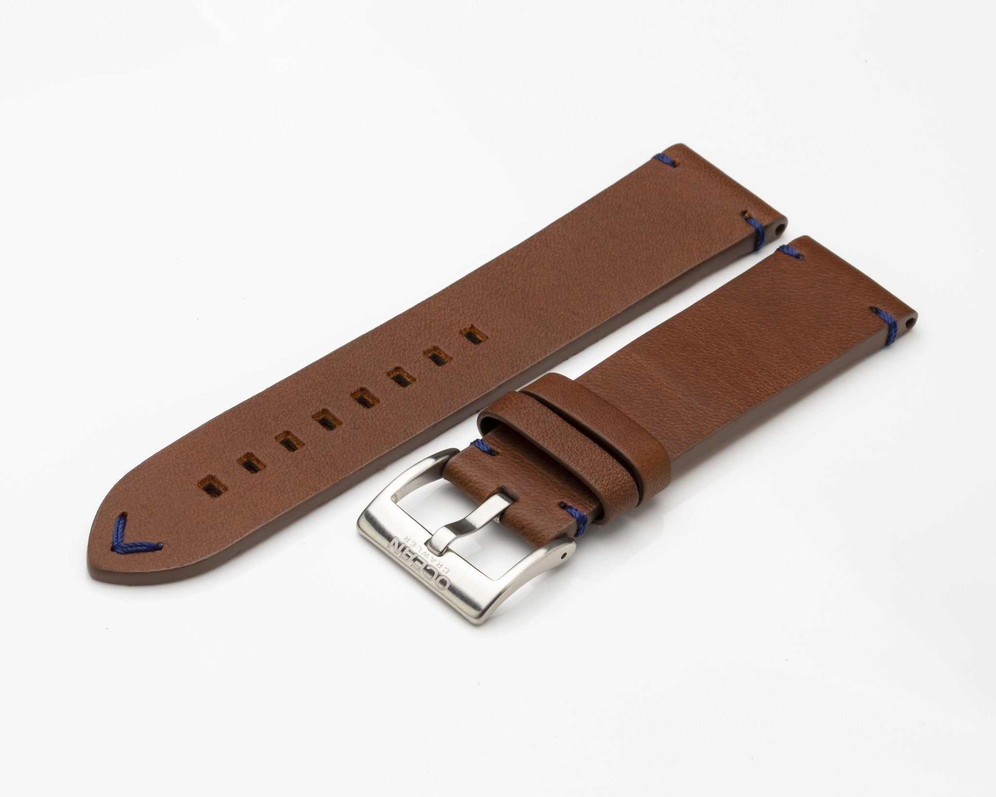 Ocean Crawler Brown Leather Strap - Blue Stitching - 22mm - Ocean Crawler Watch Co.