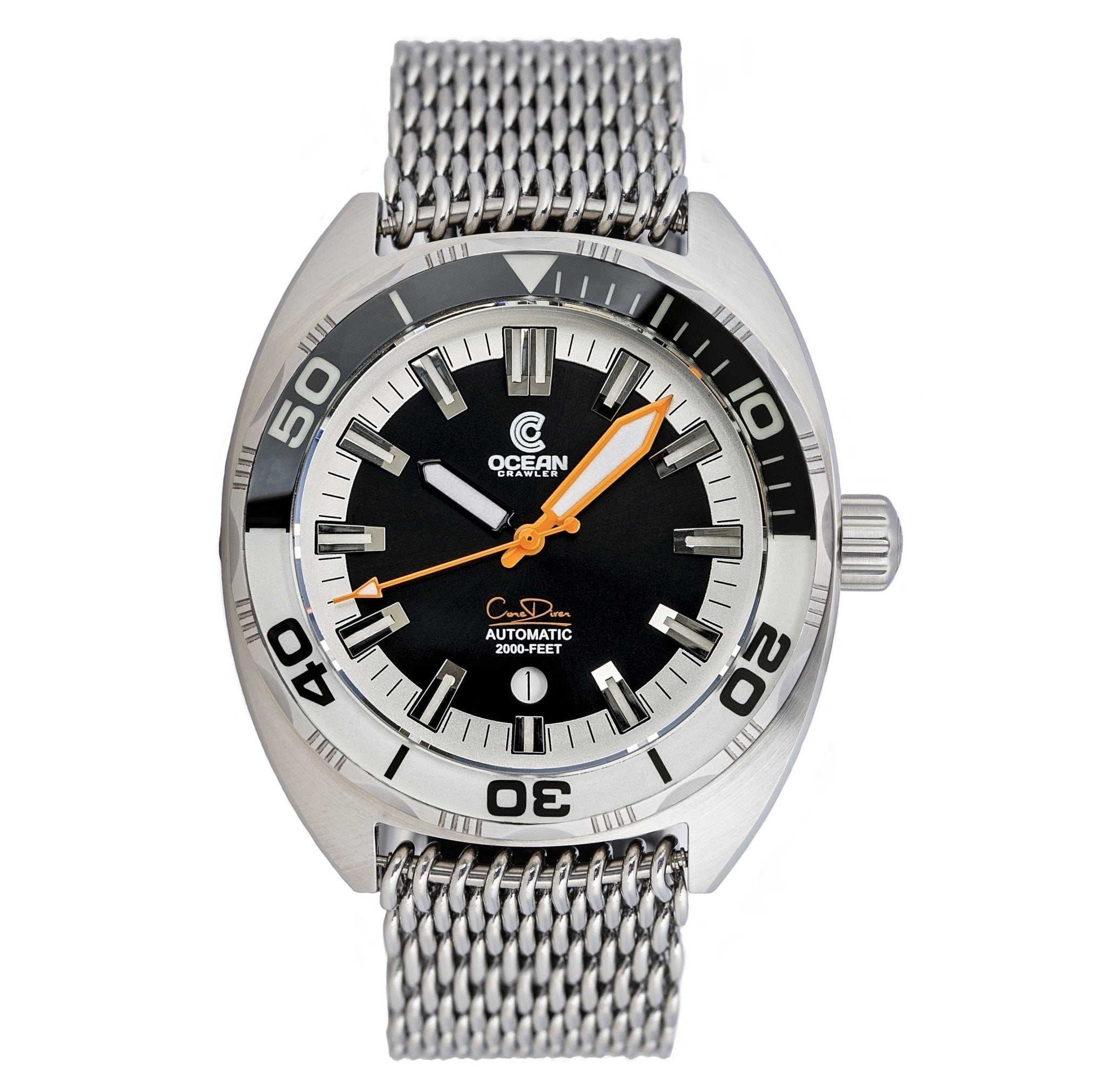 Ocean Crawler Core Diver - Black/White - Ocean Crawler Watch Co.