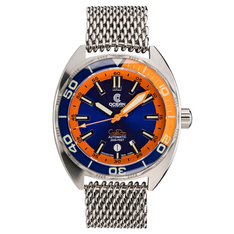Ocean Crawler Core Diver - Blue/Orange v3 - Preorder - Ocean Crawler Watch Co.