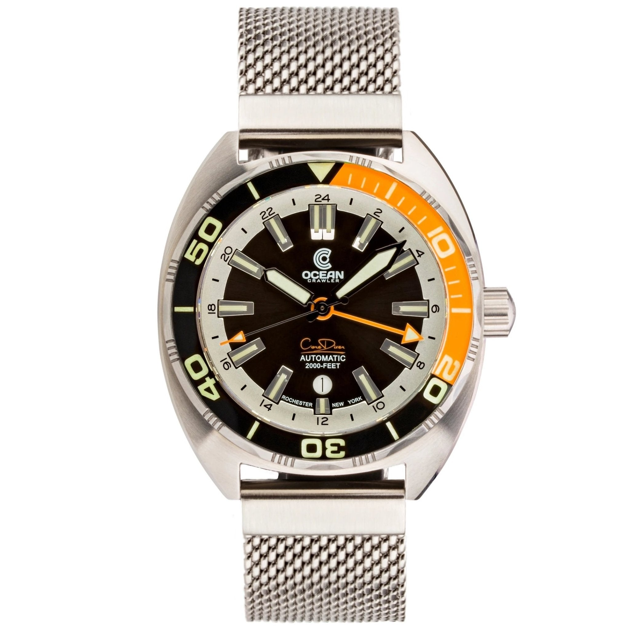 Ocean Crawler Core Diver GMT - Black/Orange - Ocean Crawler Watch Co.