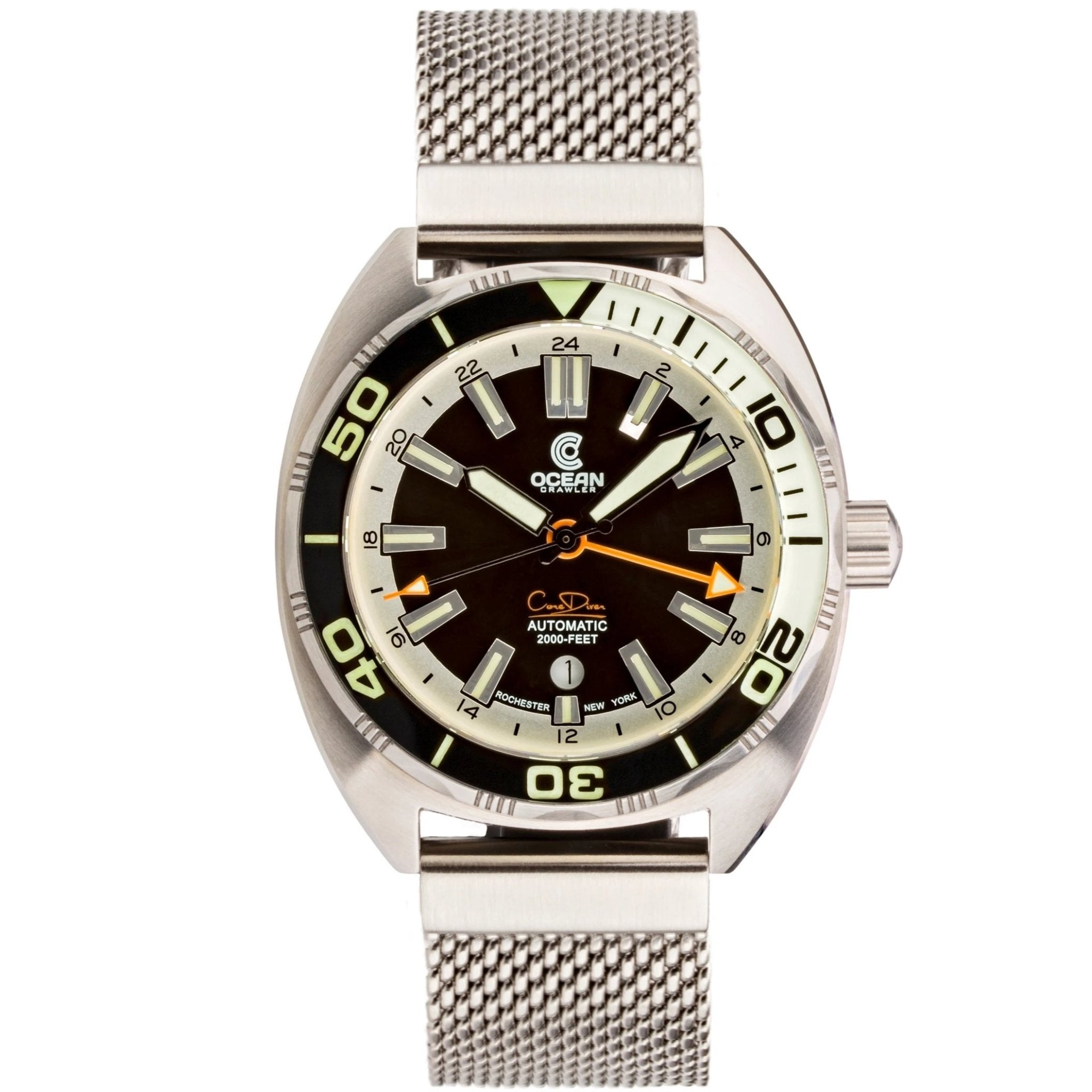 Ocean Crawler Core Diver GMT - Black/White - Ocean Crawler Watch Co.