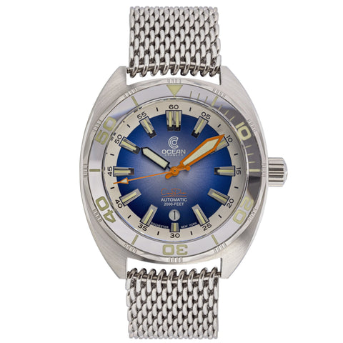 Ocean Crawler Core Diver - Silver/Aqua V3 - Ocean Crawler Watch Co.