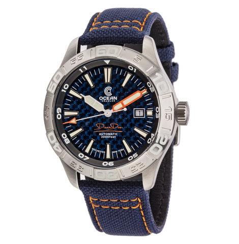 Ocean Crawler Dream Diver - Blue Carbon Fiber - Ocean Crawler Watch Co.