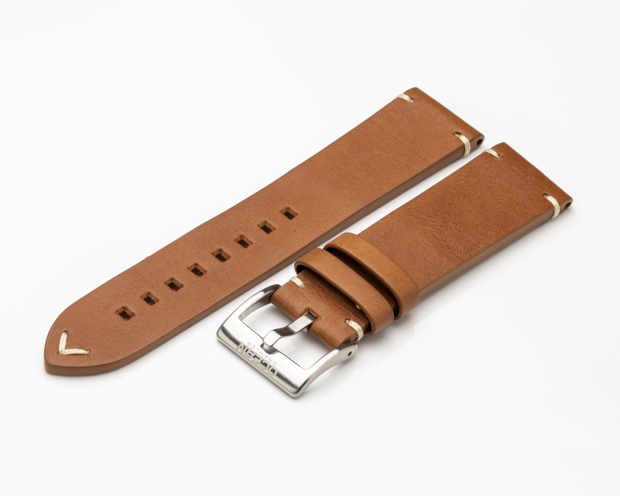 Ocean Crawler Light Brown Strap - Cream Stitching - 22mm - Ocean Crawler Watch Co.