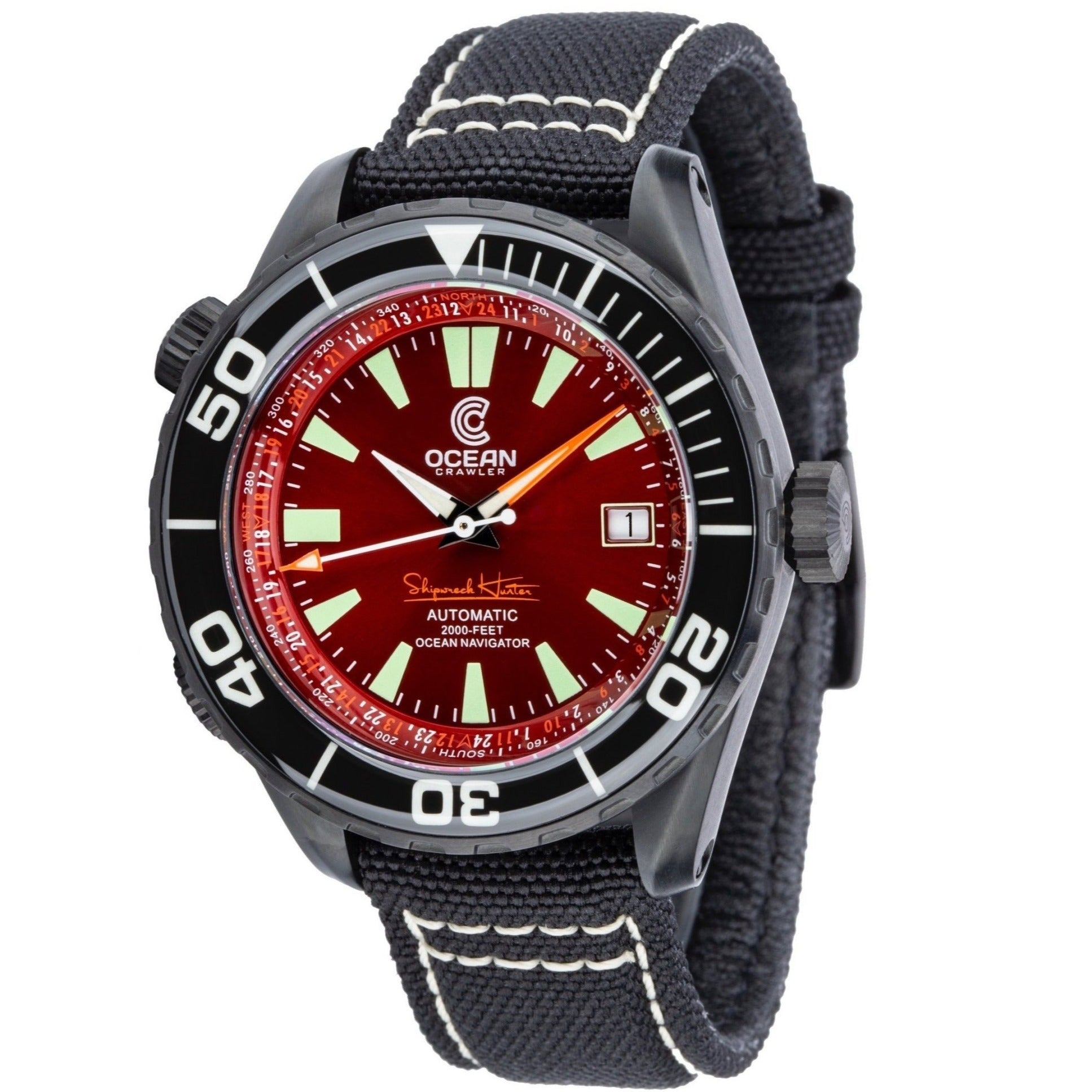 Ocean Crawler Ocean Navigator - DLC - Red - Ocean Crawler Watch Co.