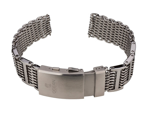 Ocean Crawler Shark Mesh with Ratchet Extension Clasp - 22mm - Ocean Crawler Watch Co.