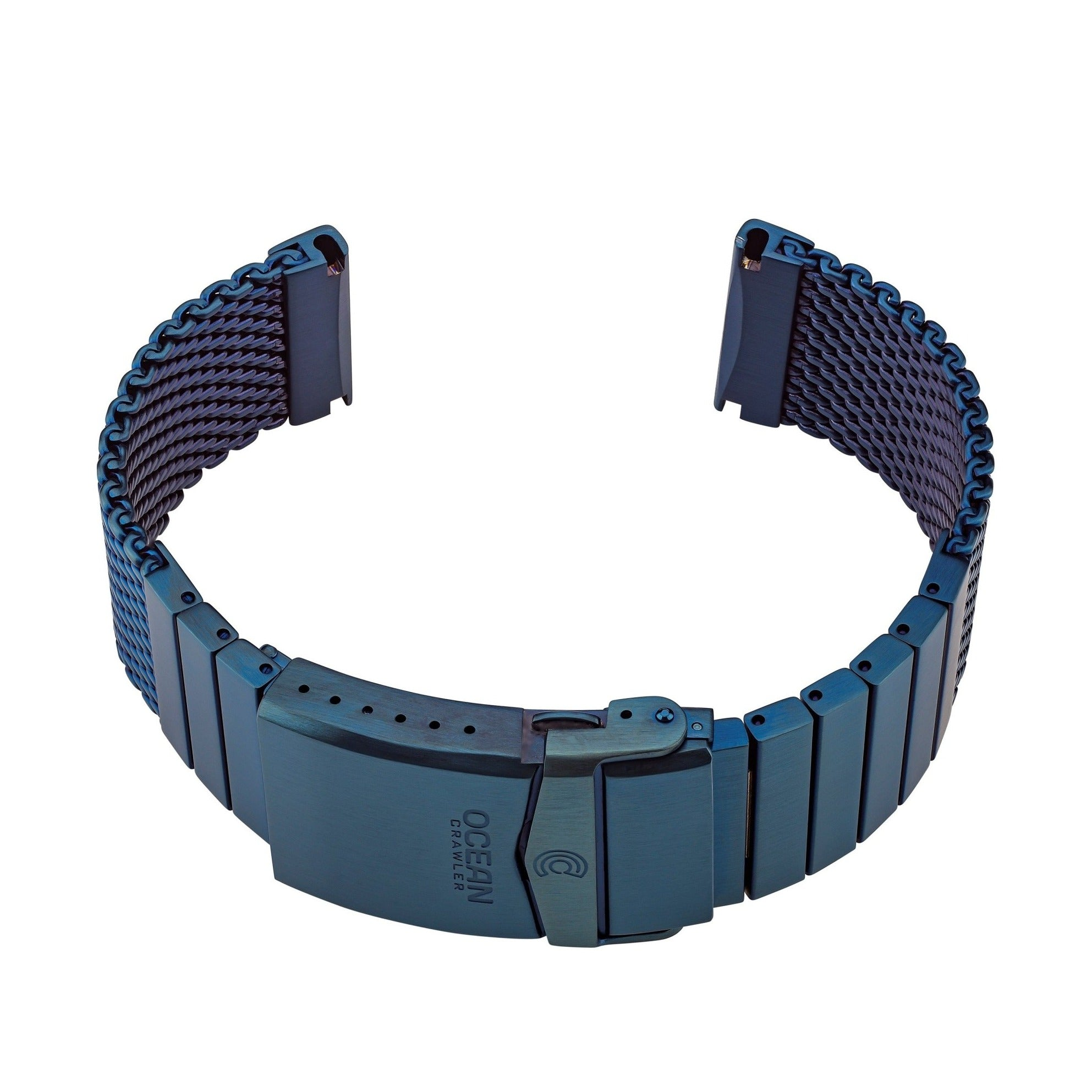 Ocean Crawler Shark Mesh With Straight Ends - Blue DLC - 22mm - Ocean Crawler Watch Co.