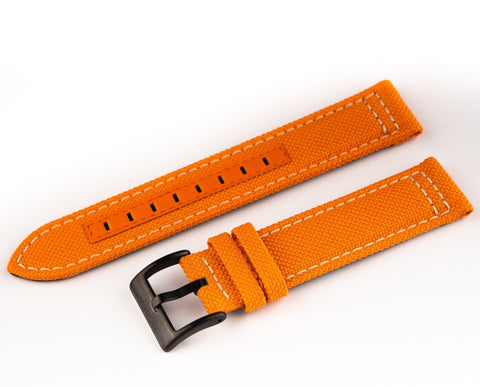 Orange canvas strap with signed PVD buckle for the Ocean Navigator - 20mm - Ocean Crawler Watch Co.