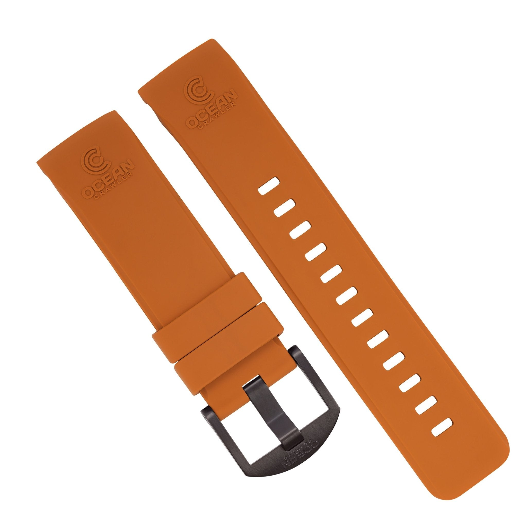 Orange Fitted Rubber Strap for Core Diver - DLC Buckle - 22mm - Ocean Crawler Watch Co.