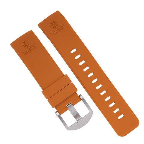 Orange Fitted Rubber Strap for Core Diver - SS Buckle - 22mm - Ocean Crawler Watch Co.