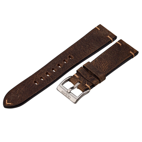 Vintage Crazy Horse Leather Strap - 22mm - Ocean Crawler Watch Co.