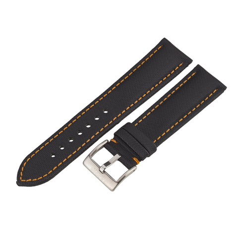 Water Resistant Black/Orange Ocean Crawler Kevlar Strap - 22mm - Ocean Crawler Watch Co.