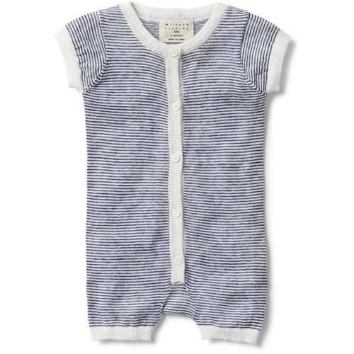 Navy Stripe Knitted S/S Growsuit