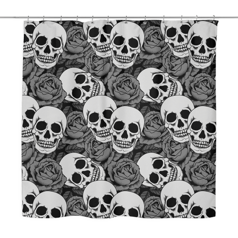 Grey Rose & Skull Shower Curtains - 70x70\