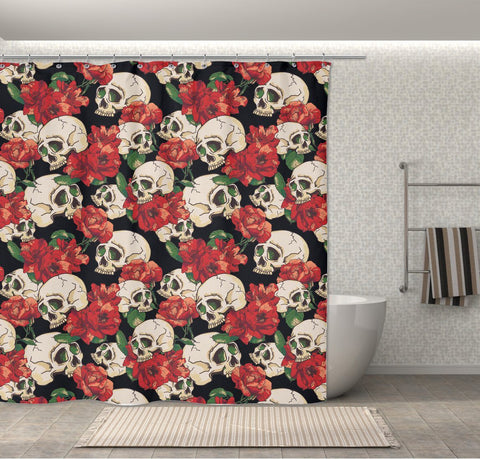 Rose & Skull Shower Curtain, New Skull Design Decor: 70\