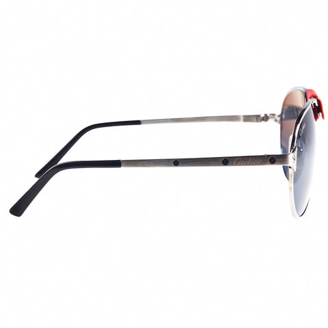 Cartier Eyewear CT0034S Pilot Frame Silver Red Sunglasses