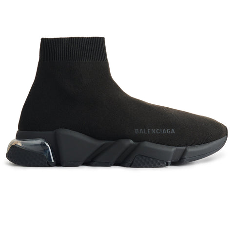 Image of Balenciaga Speed Knit Sock Clear Sole Triple Black Transparent