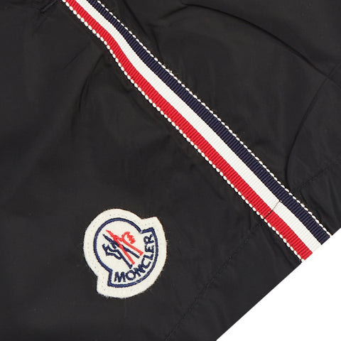 Moncler Tricolor Stripe Black Swim Shorts