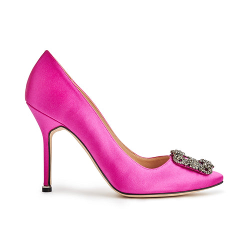 Image of Manolo Blahnik Hangisi Pink Satin Jewel Buckle Heels