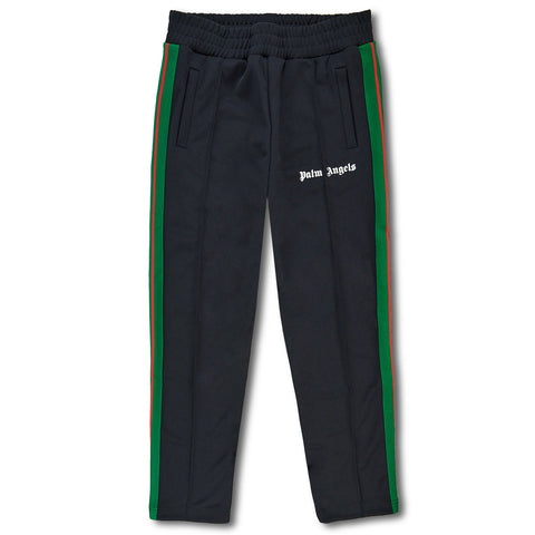 Palm Angels Black Green Striped Track Pants