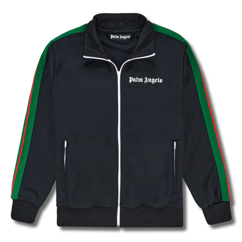 Palm Angels Black Green Striped Track Jacket
