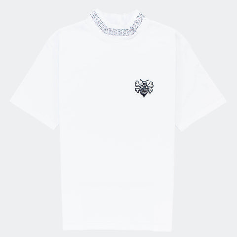 Dior x Shawn Stussy Oversized White Bee Collar T Shirt