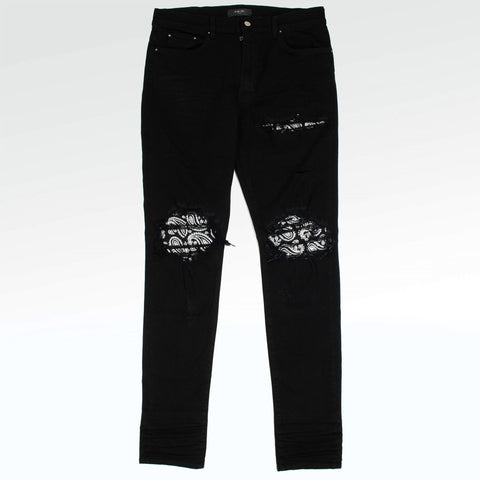 Amiri Mx1 Crystal Patch Distressed Black Skinny Jeans