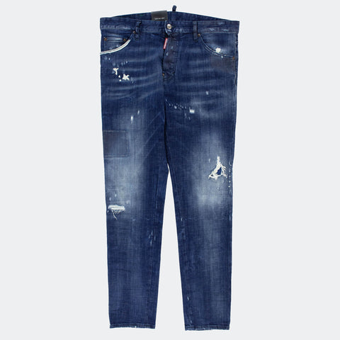 Dsquared2 Blue Patchwork Cool Guy Slim Jeans
