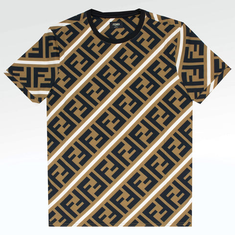 Fendi FF Diagonal Print Brown T Shirt