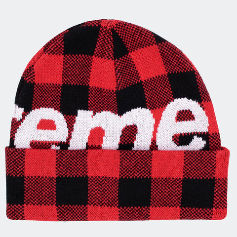Supreme Big Logo Beanie Red Plaid