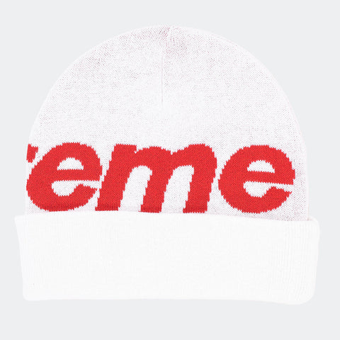 Supreme Big Logo Beanie White Red