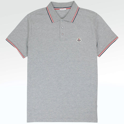 Moncler Tri Trim Polo Shirt Grey