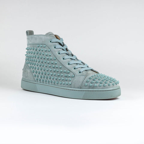 Christian Louboutin Louis Flat Spikes Suede Sauge