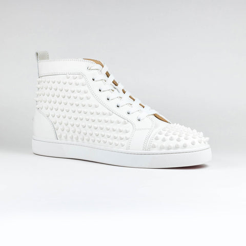 Louis Flat Spikes Leather White
