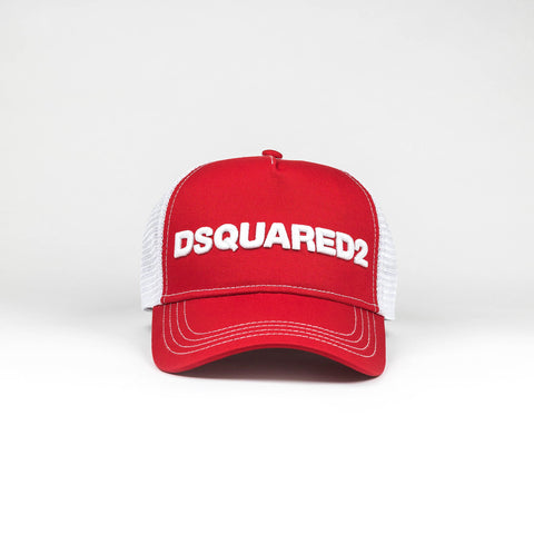 Dsquared2 Mesh Panelled Logo Trucker Red Cap